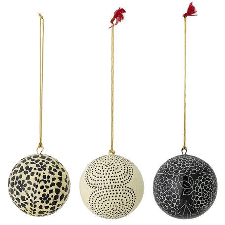 Papier mache - kerstballen - 3 st - Ø 7,5 cm