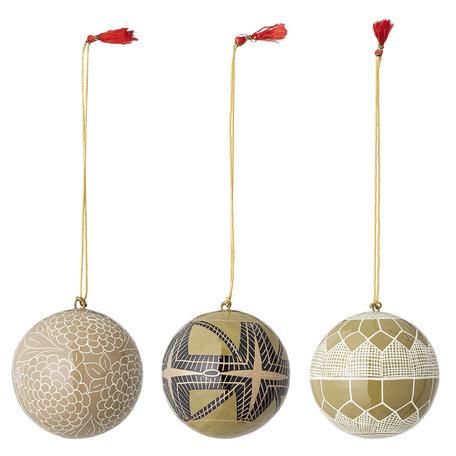 Papier mache - kerstballen - Set van 3