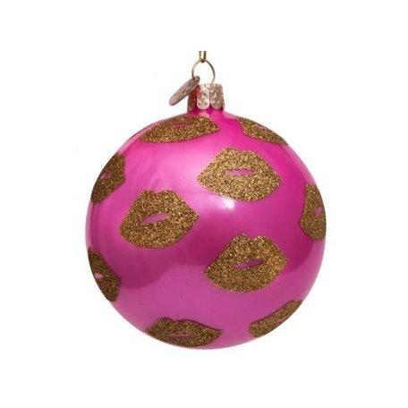 Kerstbal - Roze - Gouden lippen
