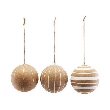 3 Papieren kerstballen / wit - Ø 10 cm