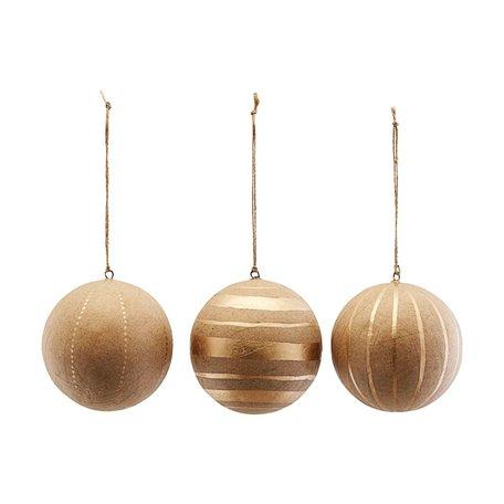 3 craft kerstballen / goud - Ø 8 cm