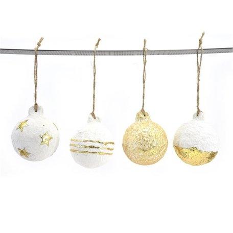 Kerstballen - Papier mache - Wit / Goud