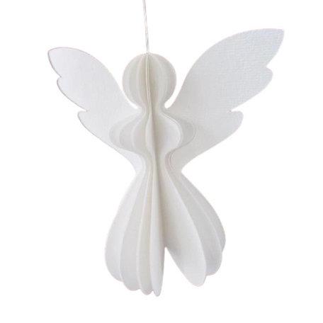 Witte kerstengel / Papier - 12,5 cm