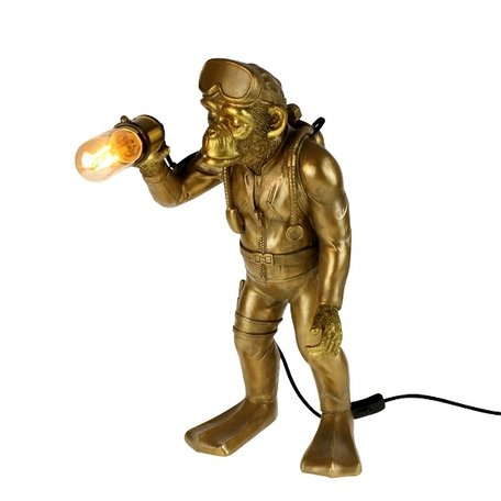 Table lamp monkey - Diver Dan - Gold