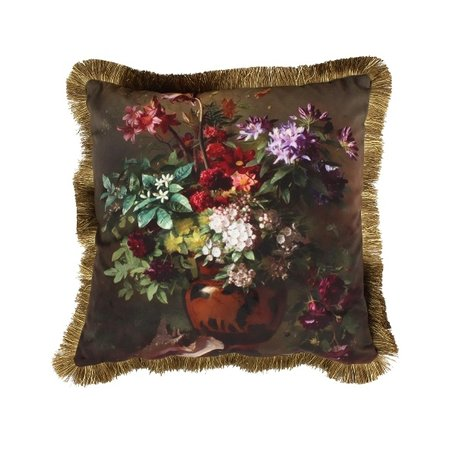 Luxe sierkussen franjes - Flowers