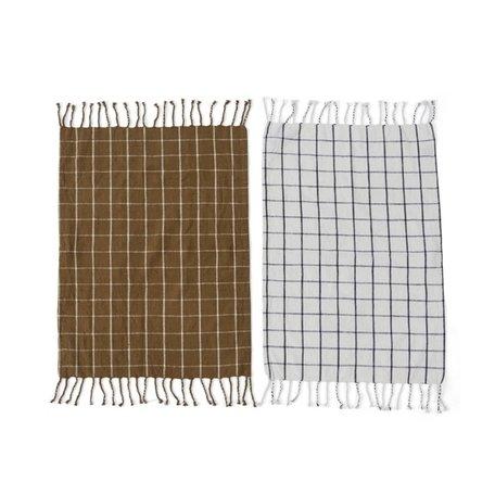 2 pcs teatowels Gobi - Squares - Brown / Offwhite