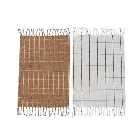 Teatowels Gobi - Squares - Brown / Offwhite