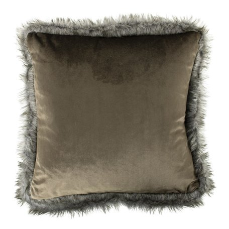 Velvet cushion - Fur - Taupe