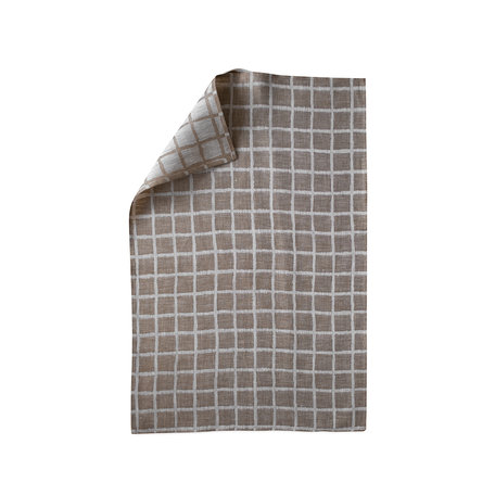 Linen tea towel - Rutig - Brown