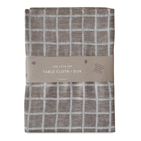 Tablecloth Rutig - Linen - Brown