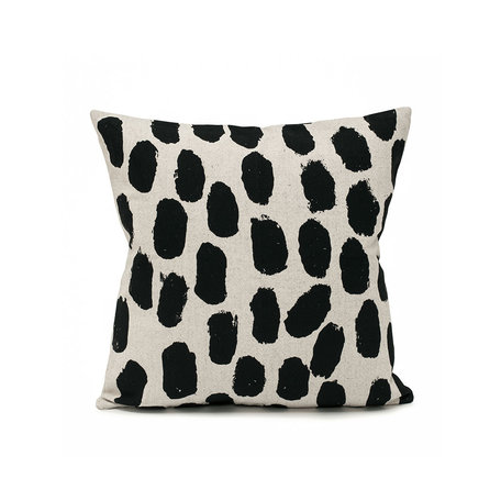 Linen cushion cover Dots - Black