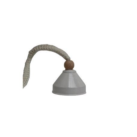 Lamp keramiek / Wit - Gebreid koord / Ecru