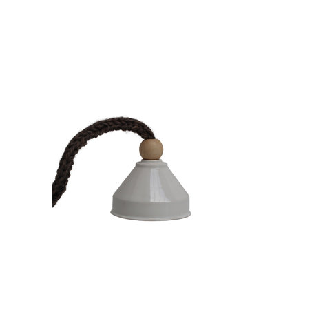 Lamp ceramics / White - Knitted cord / Brown
