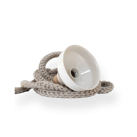 Lamp ceramics / White - Knitted cord / Taupe