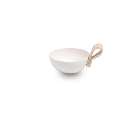 White ceramic bowl - Off-white felt loop