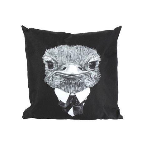 Buitenkussen - Struisvogel - Zwart / Wit