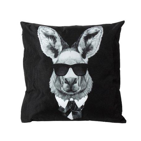 Outdoor sierkussen - Kangoeroe - Zwart / Wit