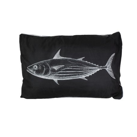 Zwart wit buitenkussen - Vis