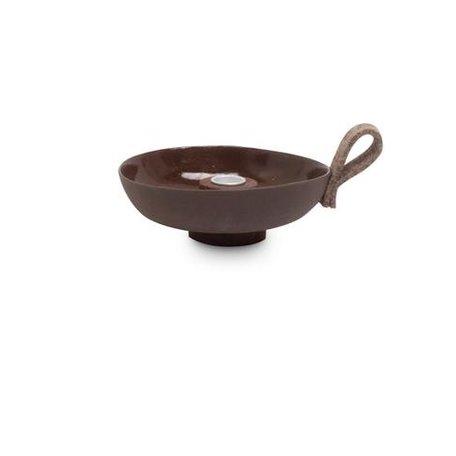 Ceramic candlestick / brown - felt loop