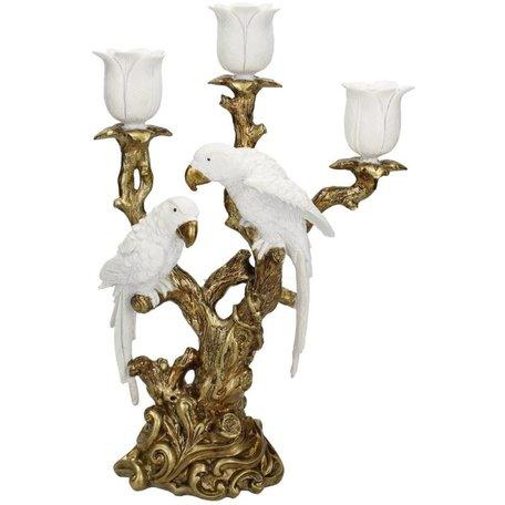 Brocante candlestick - Birds - White
