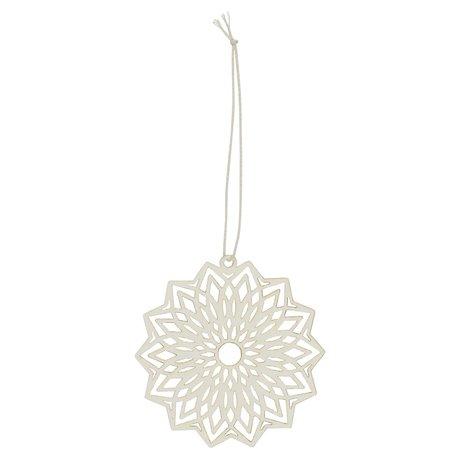 Kerst ornament flower - Papier -  Creme - Ø 8 cm