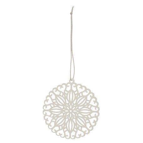 Papier kerstornament flower -  Creme - Ø 8 cm