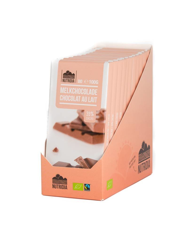 Nutridia Tablet melkchocolade bio 100g 12 stuks