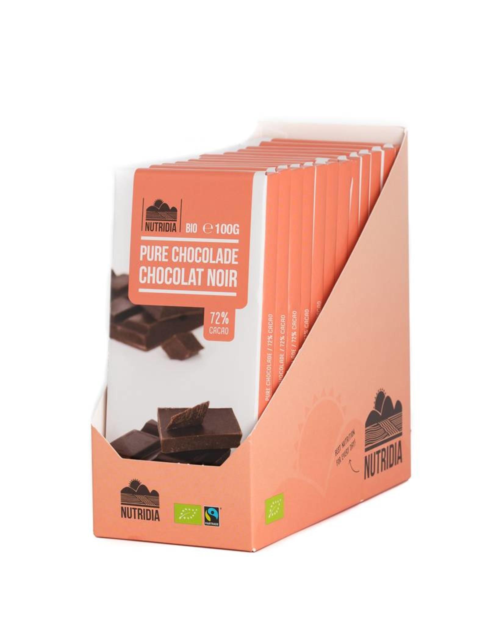 Nutridia Tablet pure chocolade 72% bio 100g 12 stuks