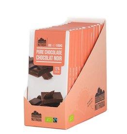 Tablet pure chocolade 72% bio 100g 12 stuks