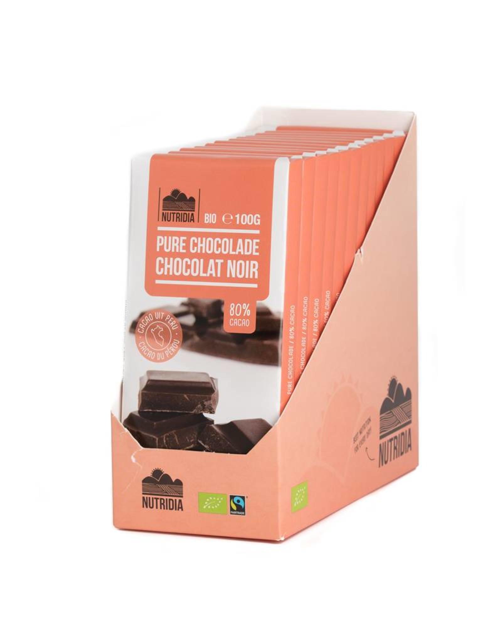 Nutridia Tabelette chocolat noir bio 80% 100g 12 pièces