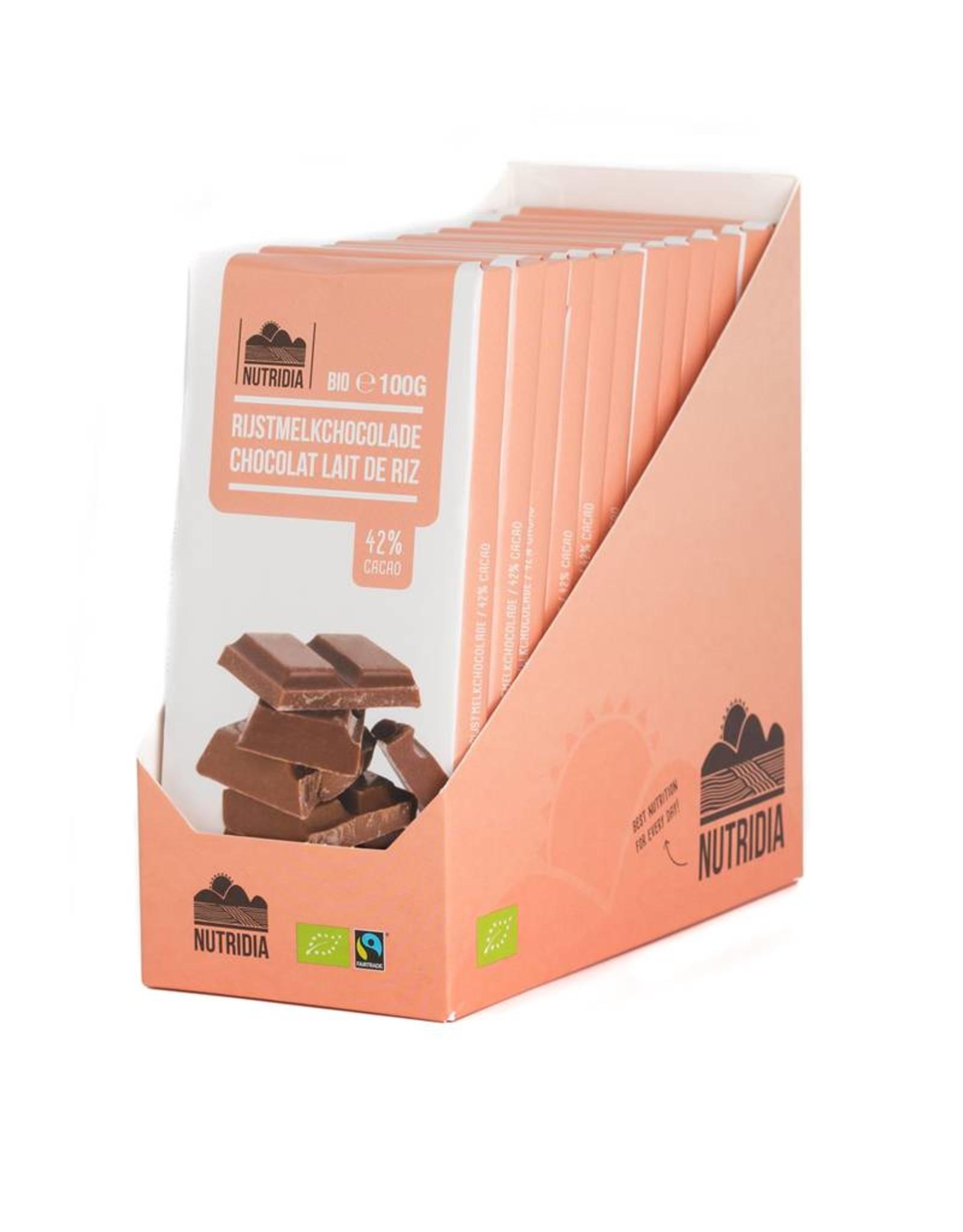 Nutridia Tablette chocolat lait de riz bio 100g 12 piéces