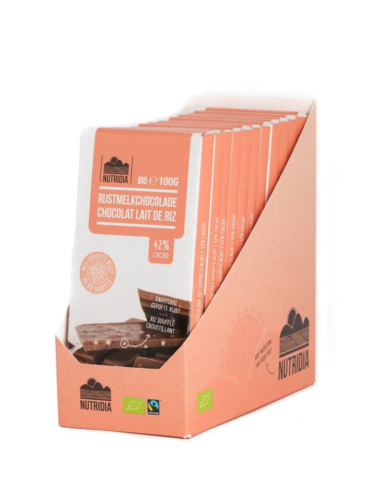 Nutridia Tablet rijstmelkchocolade gepofte rijst bio 100g 12 stuks