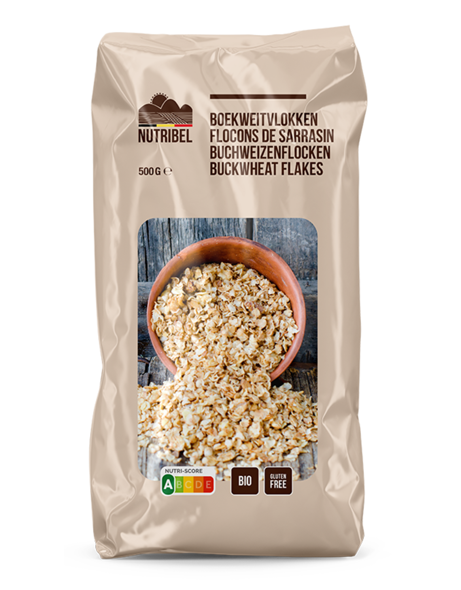 Nutribel Boekweitvlokken bio & glutenvrij 500g