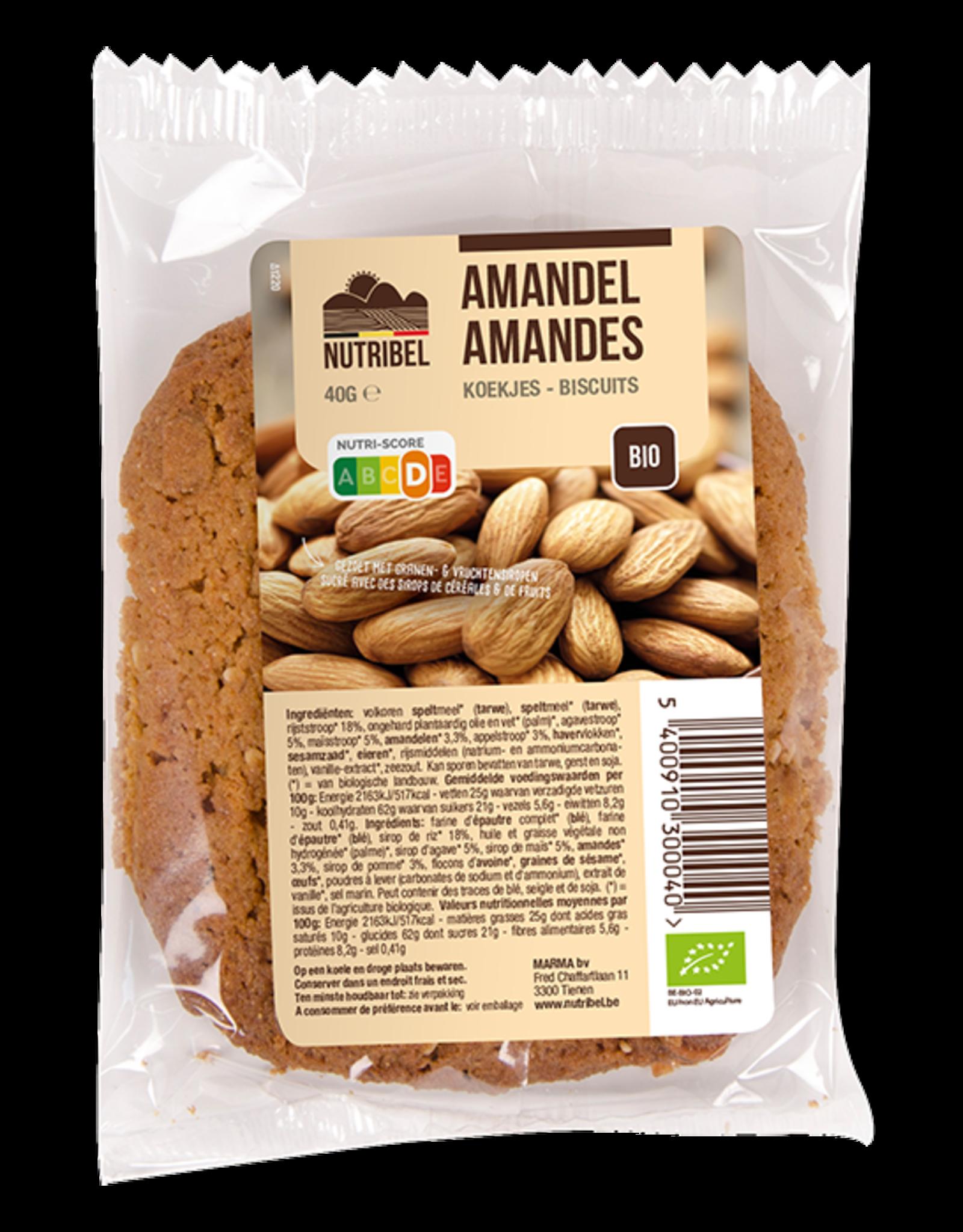 Nutribel Biscuit épeautre amande bio 40g 20 pièces