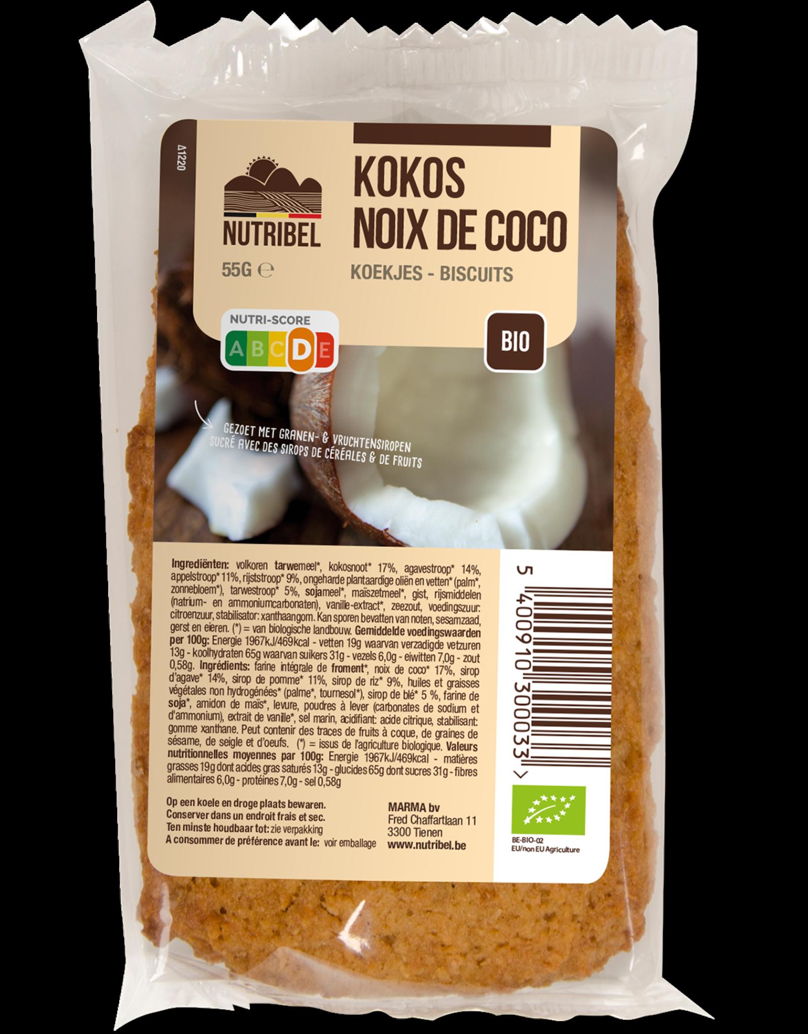 Nutribel Kokoskoek bio 55g 20 stuks