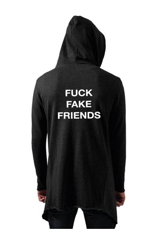 FUCK FAKE FRIENDS LONG CARDIGAN