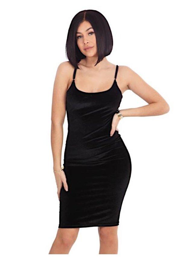 VELVET STRAP DRESS BLACK