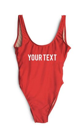 CUSTOM TEXT SWIMSUIT RED