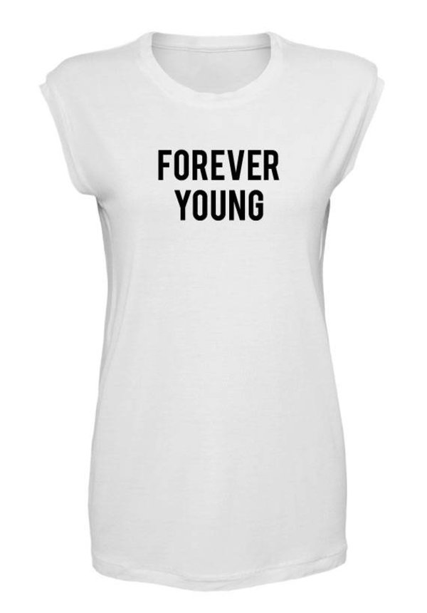 FOREVER YOUNG SLEEVELESS TEE WHITE