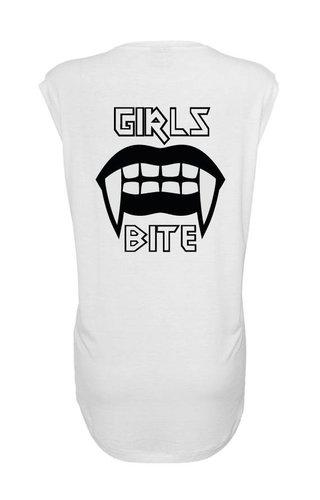 GIRLS BITE SLEEVELESS TEE WHITE