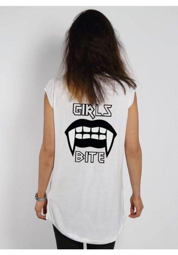 GIRLS BITE SLEEVELESS TEE WHITE