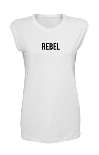 REBEL SLEEVELESS TEE WHITE