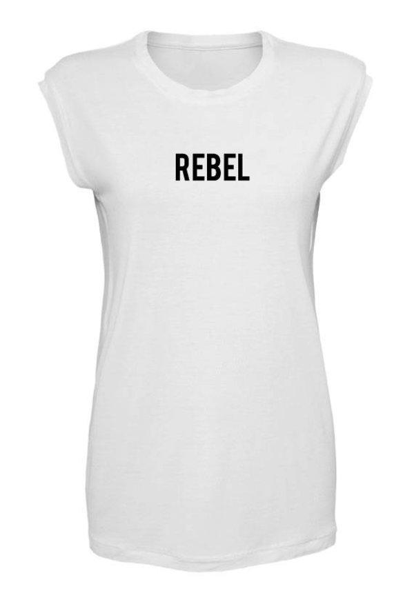 REBEL SLEEVELESS TEE WHITE