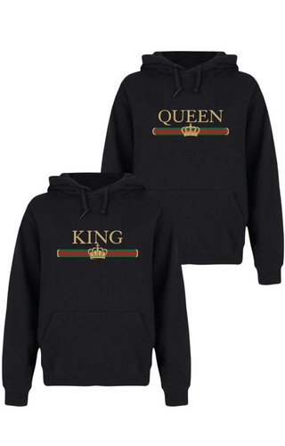 KING & QUEEN STRIPED COUPLE HOODIES
