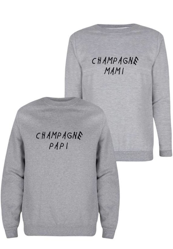 CHAMPAGNE PAPI & MAMI COUPLE SWEATERS
