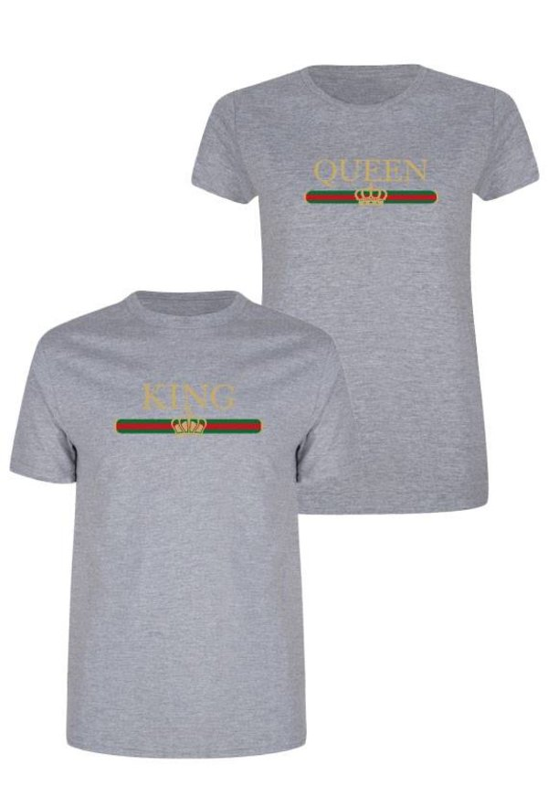 KING & QUEEN STRIPED COUPLE TEES