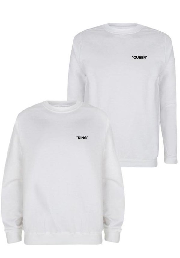 KING & QUEEN QUOTE COUPLE SWEATERS