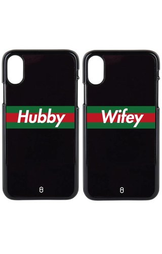HUBBY & WIFEY STRIPED COUPLE CASES