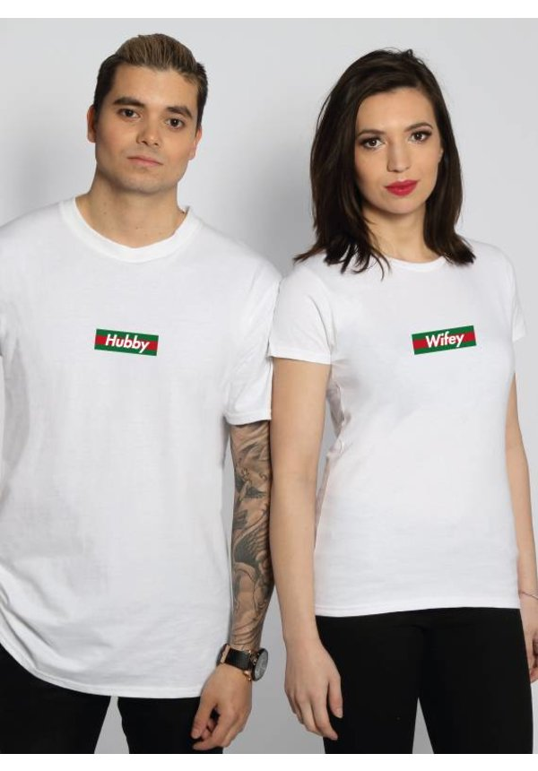 HUBBY & WIFEY STRIPED COUPLE TEES