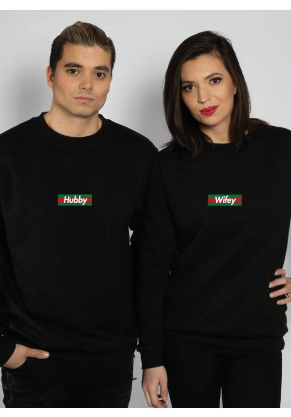 HUBBY & WIFEY STRIPED COUPLE SWEATERS